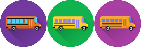 Set of flat icons yellow school buses. Stock Photo