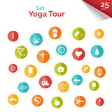Set of flat icons for yoga poster, yoga site. Vector yoga icons. Multicolored buttons for yoga site. Set elements for decor of yoga tour poster or yoga tour Stock Image