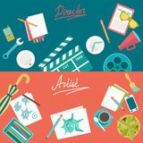 Set of flat illustration concepts for design development and movie making. Concepts for web banner and printed materials. Set of flat illustration concepts for Stock Image
