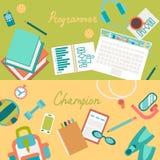 Set of flat illustration concepts of desks Stock Image