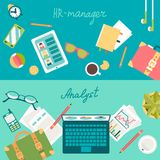 Set of flat illustration concepts of desks Royalty Free Stock Image