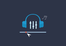 Set of flat illustration design music concept.  Royalty Free Stock Photo