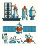 Set flat illustration on the space theme Royalty Free Stock Photos