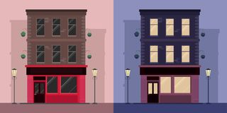 Set of flat illustrations by  Irish pub day and night. Royalty Free Stock Photography