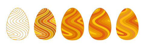 Set of flat images of golden Easter eggs decorated in wavy strip Royalty Free Stock Photography