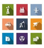 Set of flat industrial icons Stock Photo