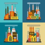 Set of flat industrial  illustrations Royalty Free Stock Photography