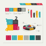 Set of flat infographic elements. Business collection of graphs, diagrams, speech bubbles, folder and circle template Royalty Free Stock Photo