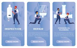 Set Flat Inspection, Repair, Commercial Plumbing. royalty free illustration