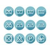 Set of flat instruction laundry icons, washing symbols Stock Image