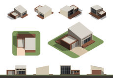 Set of flat isolated house building kit creation, detailed urban and rural house concept design in top, side, front and back eleva Stock Photography