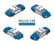 Set with flat isolated police car icons Stock Photos