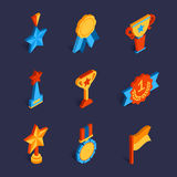 Set of flat isometric trophy icons. Vector illustration stock illustration