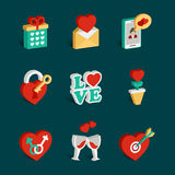 Set of flat isometric valentines day icons Royalty Free Stock Photo