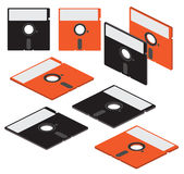 Set of flat isometric vector 5 inch floppy disks Stock Photos