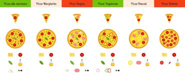Set of flat pizza and ingredients isolated on white background. stock illustration