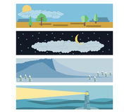 Set in a flat landscape style. Snow-capped mountains, a lighthouse in the sea, day and night. Royalty Free Stock Image