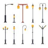 Set of flat light posts. Stock Photos