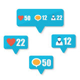 Set of flat like, follower, comment icons Stock Photo