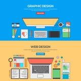 Set of Flat Line Banner Design Concept Stock Photo