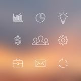 Set of flat line business icons. Blur vector Royalty Free Stock Images