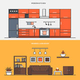 Set of Flat Line Color Banners Design Concepts vector illustration