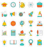 Set Flat Line Colorful Icons of School Equipment Royalty Free Stock Images