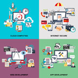 Set of flat line concept of cloud computing, internet secure Royalty Free Stock Photography