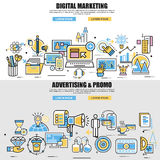 Set of flat line concept of video, viral and digital marketing. Advertising and promo, business planning, business startup, business strategy, analytics Stock Photography