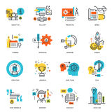 Set of flat line design business icons Royalty Free Stock Images
