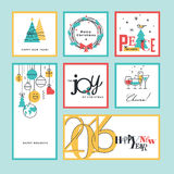 Set of flat line design Christmas and New Year greeting cards and banners. Stock Photos