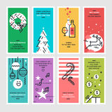 Set of flat line design Christmas and New Year's greeting cards. Royalty Free Stock Image