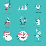 Set of flat line design Christmas and New Year signs Stock Images