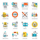 Set of flat line design icons of graphic design, website and app design and development. Vector illustration concepts Stock Image