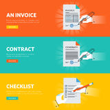 Set of flat line design web banners for business documentations Royalty Free Stock Image