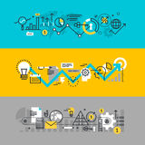 Set of flat line design web banners for business process Royalty Free Stock Images