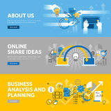Set of flat line design web banners for company information, business analysis and planning, share ideas. Vector illustration concepts for web design Royalty Free Stock Photos