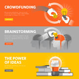 Set of flat line design web banners for crowdfunding, brainstorming, big idea Stock Image