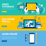 Set of flat line design web banners for distance education, online learning, video tutorials. Vector illustration concepts for web design, marketing, and Stock Images