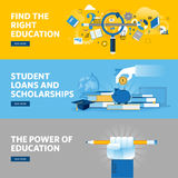 Set of flat line design web banners for education, student loans, scholarships, choice of education and profession Stock Image