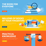 Set of flat line design web banners for online book store, e-book, know how. Vector illustration concepts for web design, marketing, and graphic design Royalty Free Stock Image