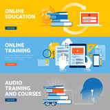 Set of flat line design web banners for online education, online training and courses. Vector illustration concepts for web design, marketing, and graphic Stock Photo