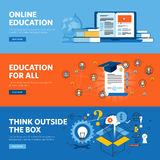 Set of flat line design web banners for online education, online training and courses Stock Photos
