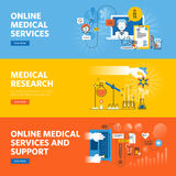 Set of flat line design web banners for online medical services and support Royalty Free Stock Photos