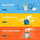 Set of flat line design web banners for real estate Royalty Free Stock Images