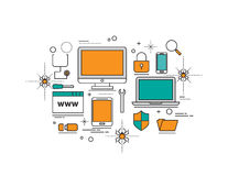 Set of Flat line icon & infographic design concept,Antivirus and Royalty Free Stock Images