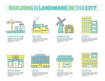 Set of Flat line icon & infographic design concept, Buildings la Stock Photo