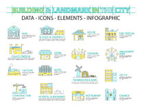 Set of Flat line icon & infographic design concept,Buildings Stock Photography
