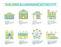 Set of Flat line icon & infographic design concept, Buildings. Landmark city 01 Stock Images