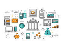 Set of Flat line icon & infographic design concept, financial pl Royalty Free Stock Images